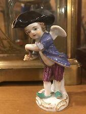 Antique Meissen Porcelain Putty Cherub Cupid Figurine Crossed Swords