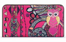 "NWT Sakroots Slim Wallet Fuchsia Spirit Desert Coated New 6.5""x3.5"" SHP INT"