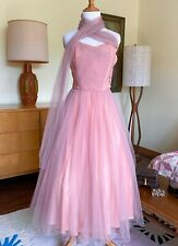 50s Dress Vintage Cocktail Full Skirt Party Prom Gown Wrap Scarf Late 40s