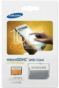 Samsung 16GB EVO 48MB/s MicroSD SDHC UHS-I Class10 Memory Card Bulk With Adapter