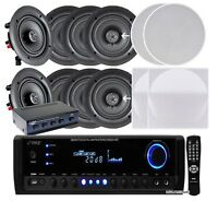"Pyle (8) 5.25"" 150W In-Ceiling Speakers + 300W Receiver & Selector"