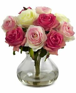 Nearly Natural Rose Arrangement with Vase Artificial Plant