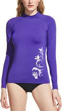 TSLA Women's UPF 50+ Rash Guard Long Sleeve, Water Beach Surf Swim Shirts