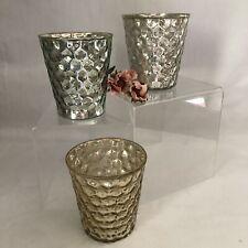 NIB New Mercury Glass Candle Votive Holders Silver Blue Gold Set of 3