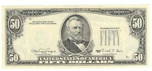 1990 $50 NOTE ERROR MISSING 3RD PRINT FRONT OVERPRINT ON REVERSE