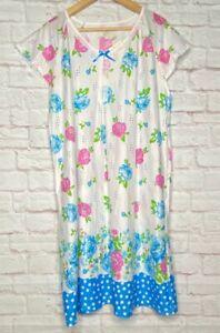 XL/1X/2X/3X New White Blue Pink Floral Print Polka Dot Knit Nightgown