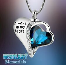 New Always in My Heart Crystal Urn Cremation Pendant Ashes Memorial Necklace