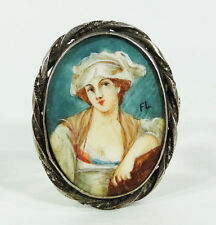 Early Biedermeier Italian Miniature Portrait Noble Lady Florence Painting Brooch