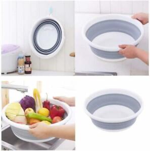 Folding Round Wash Basin Silicone Dish Tub Vegetable Washbasin Washtub
