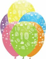 """10th Birthday Age Balloons 12"""" High Quality Latex Inflatable Air/Helium Party"""