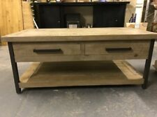 2ft x 4ft Coffee Table Limed oak two draw and shelf metal legs