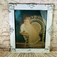 """Vtg Victorian ornate Wooden Frame Child Chair Painting 25"""" x 21"""" chalk drawing"""