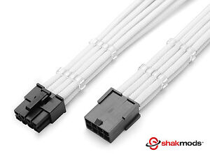 8 Pin Pcie White GPU  PSU Sleeved Power Supply Extension Shakmods + 2 Cable Comb