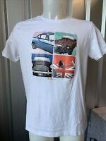 Ben Sherman Vintage Car Pic Style White T-shirt Size Large