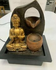 GOLDEN BUDDHA FEATURE WITH 2 WATER CUPS THAI MEDITATION PRAYING INDOOR FOUNTAIN