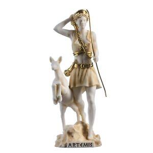"Goddess Artemis Diana Greek Statue Nature Moon Gold Tone Alabaster 8.85"""