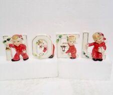Vintage Christmas little girls Noel ceramic candle holders made in Japan