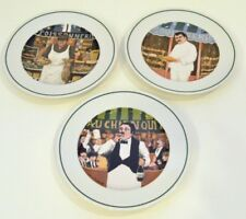 """Guy Buffet L'Etalage Collection """"The Shopkeepers""""  3 Salad Plates 7 3/4 inches"""