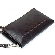 Men Wallets Genuine Cow Leather Double Zipper Clutch Long Purse Solid Phone Bag