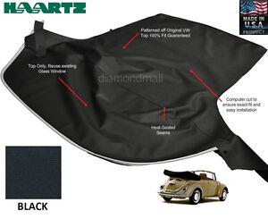VW Volkswagen BUG, Beelte 1968-1972 Convertible Soft Top Black Stayfast Cloth