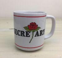 BEST SECRETARY - Vtg 1982 80s White w Red Rose Glass Mug Coffee Tea Cup