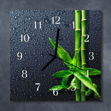 Glass Wall Clock Kitchen Clocks 30x30 cm silent Bamboo Drops Grey