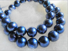 14K YELLOW GOLD HUGE 11-12MM GENUINE BLACK BLUE SOUTH SEA PEARL NECKLACE