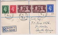 KGVI cover 1937 inscrit cover 5041 envoyé gb à pretoria, afrique du sud 28TH juin