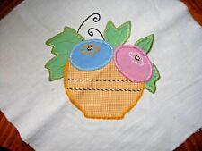 Vintage Appliquéd Flower Pot Quilt Block w/Embroidery  c.1930-40's-Crisp # 3