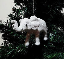 CHRISTMAS ELEPHANT ORNAMENT. CHRISTMAS TREE ORNAMENT WHITE ELEPHANT