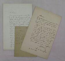NADAUD, Gustave — 3 Lettres autographes signées — 1862 / 1864 / 1888