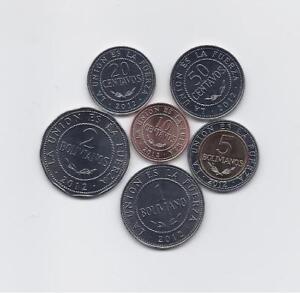 BOLIVIA 2012 FULL SIX HIGH GRADE COINS SET 5 BOLIVIANOS BIMETALLIC