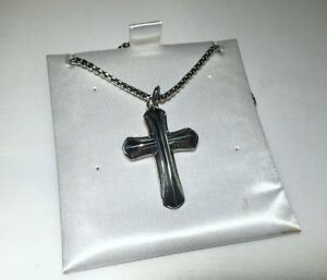 David Yurman Sterling Silver Large Armory Cross Pendant on a Chain