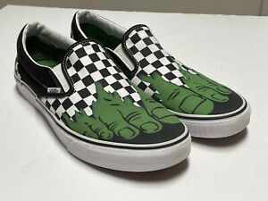 Vans Mens Black Green Marvel HULK CHECKERBOARD CHECKERS Slip On Shoes 11.5