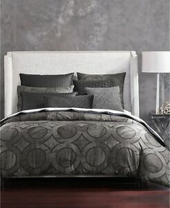Hotel Collection Marble Geometric 100% Pima Cotton Duvet Cover - KING - Black