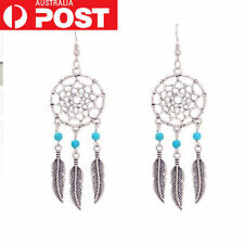 Boho Dreamcatcher Feather Dangle Earrings Hook Silver Plated Turquoise Bead