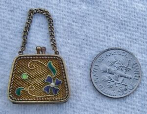 "Antique Sterling Silver Enamel Miniature Mesh Purse 7/8"" Wide Chain Handle Mini"