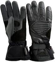 Weise Black Mens Leather Nylon Waterproof Motorcycle Gloves New