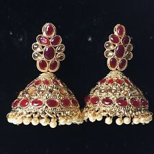 Pakistani Maroon Golden Jhumka Earings Jewellery, Indian Jhumki Earrings Jewelry