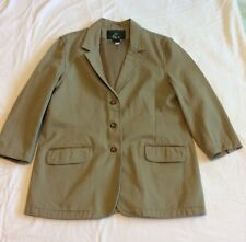 Large Orvis Mens Khaki Tan Safari Coat Jacket Short Sleeve Leather Patch Elbow