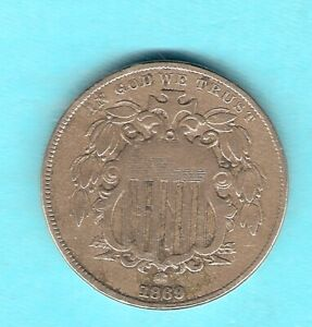 UNITED STATES OF AMERICA MONNAIE DE 5 CENTS 1869 WITHOUT RAYS