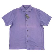 NWT THADDEUS Lavender Purple Weather Wash Cotton S/S Button Up Shirt L
