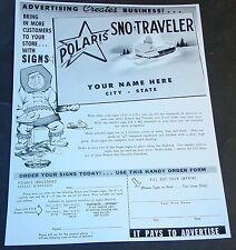 Vintage Polaris Sno-Traveler Advertising Signs Sales Brochure Copy (822)