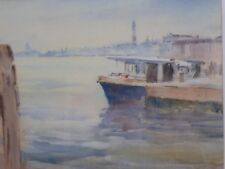 WATERCOLOUR QUAYSIDE VENICE LISTED ARTIST ROGER DELLAR FREE SHIPPING ENGLAND