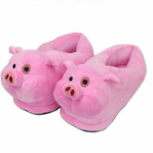 Womens Pink Pig Ballet Slippers Piglet Animal Flats House Shoes