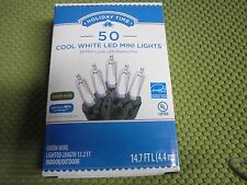 Holiday Time 50 PK Cool White LED Mini Light Green Wire 14.7 FT Energy Save