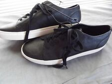 Mens EXPRESS Size 9 BLACK WHITE FAUX LEATHER SNEAKERS Lace Up