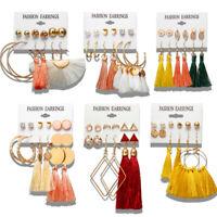 6Pcs/Set Boho Tassel Geometric Ear Stud Earrings Drop Dangle Women Jewelry Party