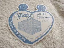Platzl Hôtel Munich luggage label, Valise Autocollants Pour 1950, RAR Hofbräuhaus