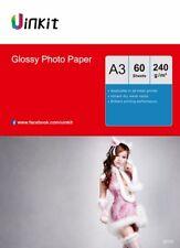 A3 Photo Paper High Glossy 240Gsm Inkjet Paper Inkjet Photography  - 60 Sheets